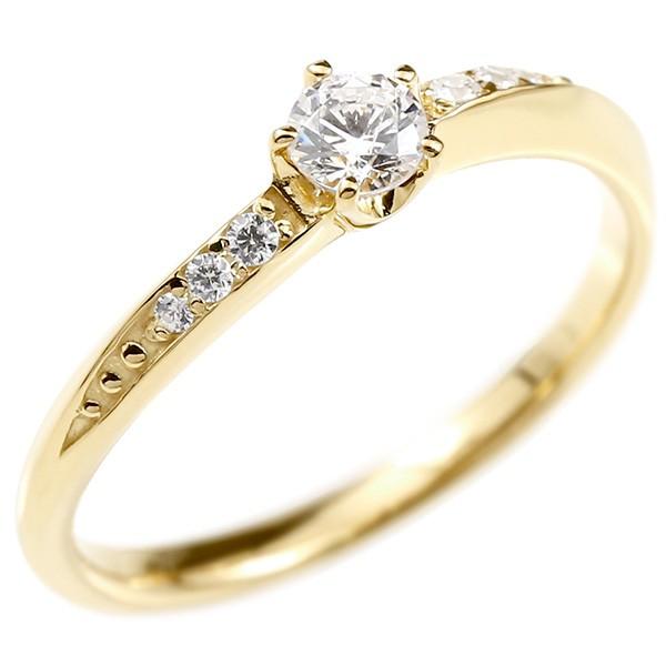婚約指輪 リング ダイヤモンド イエローゴールドk10 エンゲージリング ダイヤ 一粒 大粒 指輪 ピンキーリング 宝石 レディース