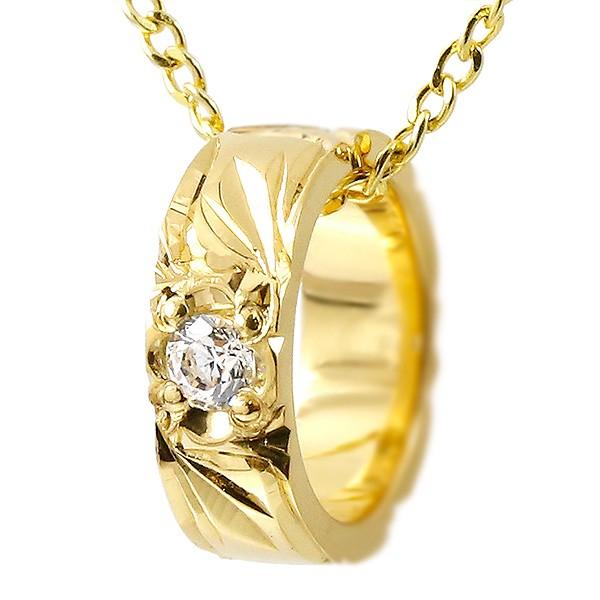 ハワイアンジュエリー ネックレス ダイヤモンド ベビーリング イエローゴールドk10 チェーン ネックレス レディース シンプル 人気
