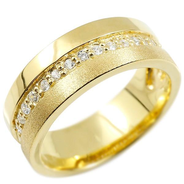 婚約指輪 イエローゴールドk10 リング キュービックジルコニア エンゲージリング 指輪 幅広 つや消し ピンキーリング 宝石 レディース