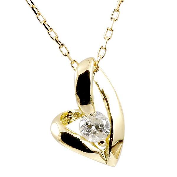 ネックレス イエローゴールドk18 ダイヤモンド ペンダント レディース プチネックレス ダイヤ 18金 チェーン 人気 宝石