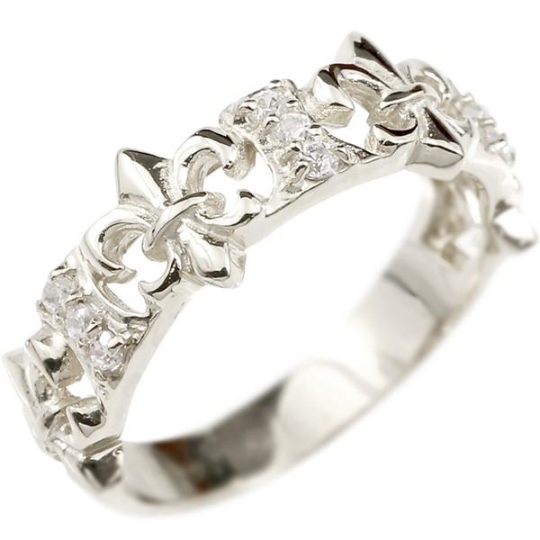 婚約指輪 リング ホワイトゴールドk18 ダイヤモンド ユリの紋章 エンゲージリング 指輪 ピンキーリング フルール・ド・リス 宝石 レディース