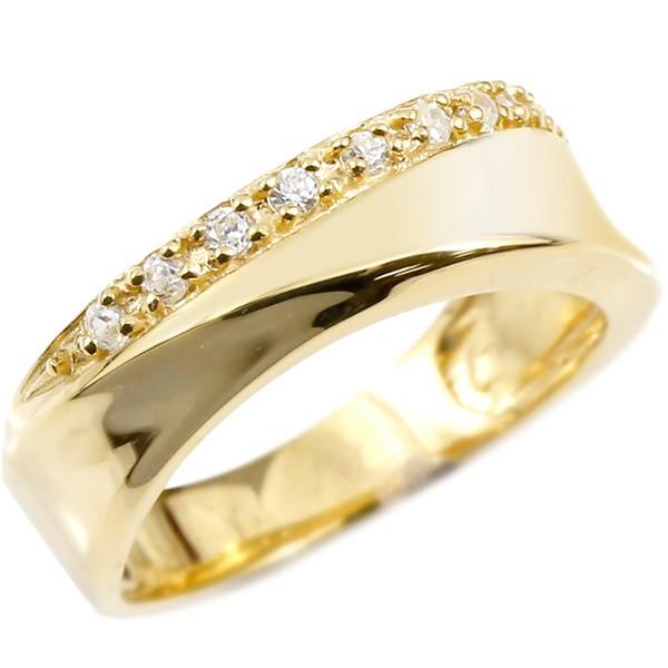 婚約指輪 リング イエローゴールドk10 キュービックジルコニア クロス エンゲージリング 指輪 ピンキーリング 十字架 レディース