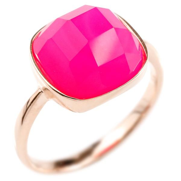 婚約指輪 リング ピンクゴールドk10 ピンクカルセドニー エンゲージリング 指輪 ピンキーリング 10金 レディース