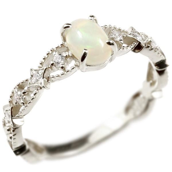 婚約指輪 リング ホワイトゴールドk18 オパール キュービックジルコニア エンゲージリング 指輪 透かし ミル打ち ピンキーリング アンティーク 18金 宝石 レディース