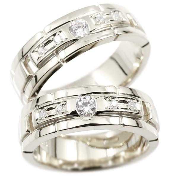 ペアリング ホワイトゴールドk18 キュービックジルコニア エンゲージリング 指輪 幅広 ピンキーリング マリッジリング 婚約指輪 宝石  カップル ストレート