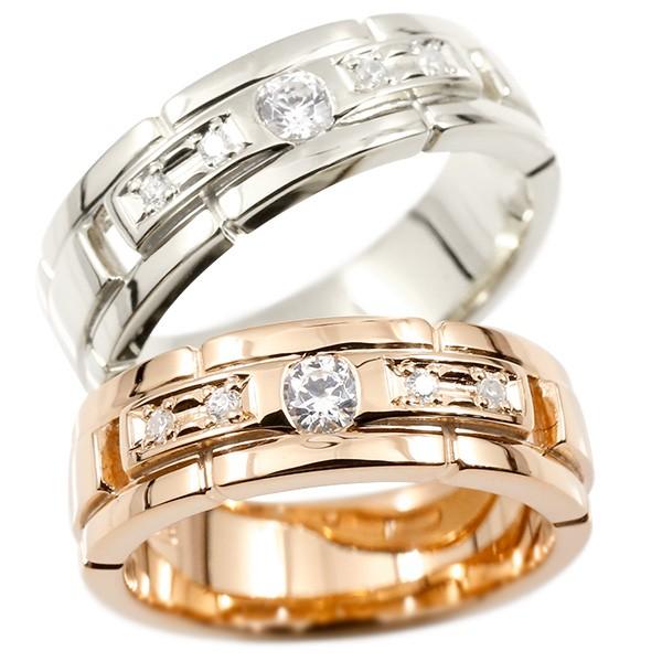 ペアリング プラチナ ピンクゴールドk18 ダイヤモンド エンゲージリング ダイヤ 指輪 幅広 ピンキーリング マリッジリング 婚約指輪 宝石  カップル ストレート
