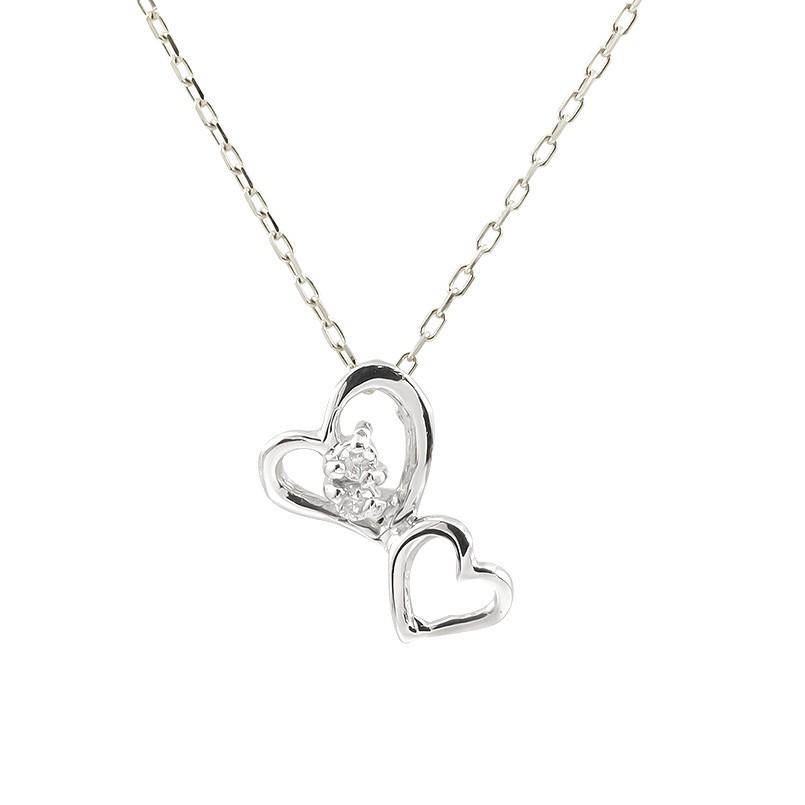 プラチナネックレス ダイヤモンド ハート ペンダント レディース プチネックレス オープンハート ダイヤ pt900 チェーン 人気 宝石