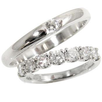 【送料無料・結婚指輪】ダイヤモンドペアリングプラチナ900 0.50ct+0.10ct☆2本セット☆指輪【工房直販】商品番号-6020602
