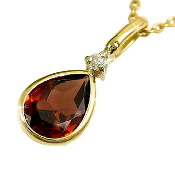 翌日配達:ガーネットペンダントネックレス:ダイヤモンド:k18:イエローゴールド:1月の誕生石ガーネット:特別価格:工房直販