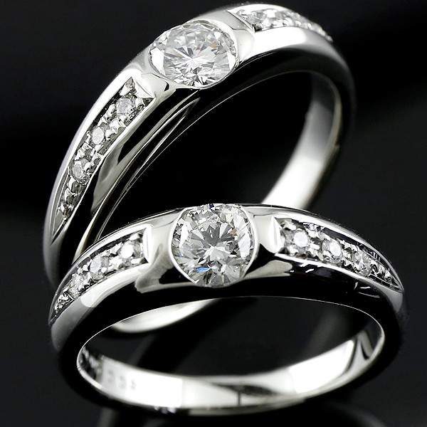 鑑定書付き ペアリング ダイヤモンド プラチナ 結婚指輪 マリッジリング 大粒ダイヤモンド VSクラス