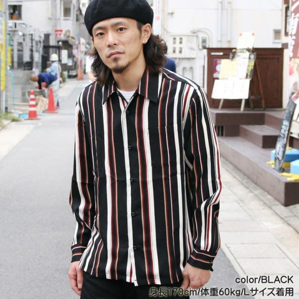 シャツ ストライプ メンズ 開襟 オープンカラー カジュアルシャツ ワークシャツ ストライプシャツ ブラック ネイビー ワイン  M L XL LL 長袖 attention-store 12