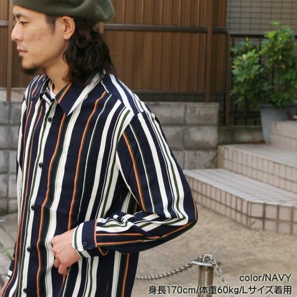 シャツ ストライプ メンズ 開襟 オープンカラー カジュアルシャツ ワークシャツ ストライプシャツ ブラック ネイビー ワイン  M L XL LL 長袖 attention-store 13