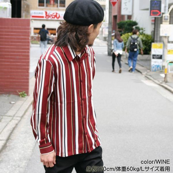 シャツ ストライプ メンズ 開襟 オープンカラー カジュアルシャツ ワークシャツ ストライプシャツ ブラック ネイビー ワイン  M L XL LL 長袖 attention-store 14