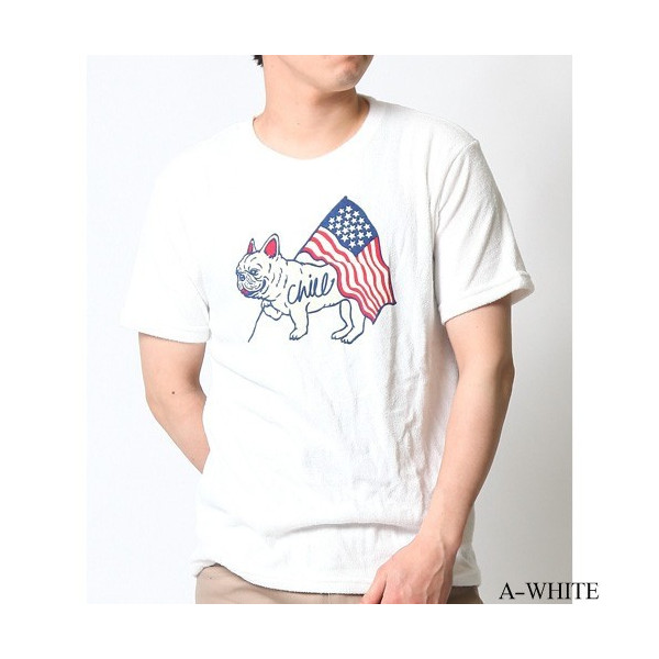 Tシャツ メンズ 半袖 パイル生地 ナノテック NANOTEC アメカジ ストリート 黒 白 ピンク イエロー ネイビー M L XL LL 2L プリント ロゴ カットソー タオル生地|attention-store|21