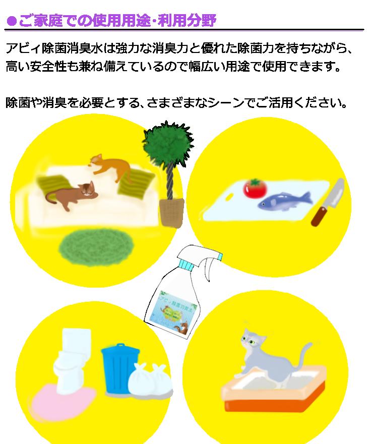 ご家庭での使用用途利用分野 アビィ除菌消臭水は強力な消臭力と優れた除菌力を持ちながら高い安全性も兼ね備えているので幅広い用途で使用できます 除菌や消臭を必要とする様々な場面でご活用ください