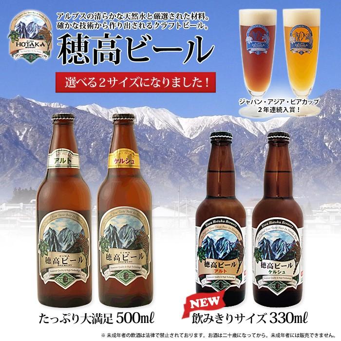ジャパン・アジア・ビアカップ2年連続入賞!穂高ビール!アルプスの清らかな天然水と厳選された材料。確かな技術から作り出されるクラフトビール。たっぷり大満足500mlと新発売飲みきりサイズ330mlの選べる2サイズになりました! ※未成年者の飲酒は法律で禁止されております。お酒は二十歳になってから。未成年者には販売できません。