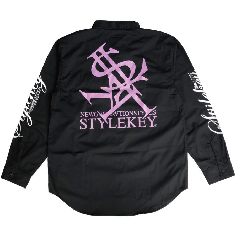 STYLEKEY スタイルキー 長袖ワークシャツ NEON ROYAL L/S WORK SHIRT (SK21FW-BL01) ストリートファッション ヒップホップ B系 ロゴ ブラウス 大きいサイズ b-bros 06