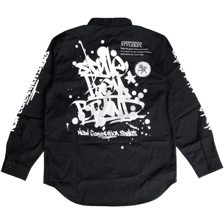 STYLEKEY スタイルキー 長袖ワークシャツ SCRIBBLE L/S WORK SHIRT (SK21FW-BL02) ストリートファッション ヒップホップ B系 タギング ブラウス 大きいサイズ|b-bros|08