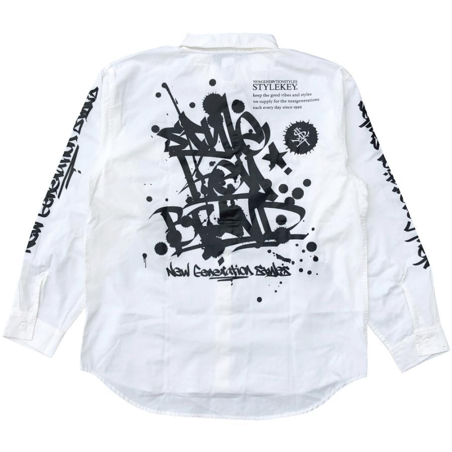 STYLEKEY スタイルキー 長袖ワークシャツ SCRIBBLE L/S WORK SHIRT (SK21FW-BL02) ストリートファッション ヒップホップ B系 タギング ブラウス 大きいサイズ|b-bros|09