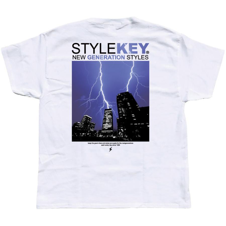STYLEKEY スタイルキー 半袖Tシャツ THUNDERBOLT S/S TEE(SK21SU-SS12) ストリート系 B系 ロック フォト 稲妻 雷 ビル街 ロゴ バンド 大きいサイズ|b-bros|08