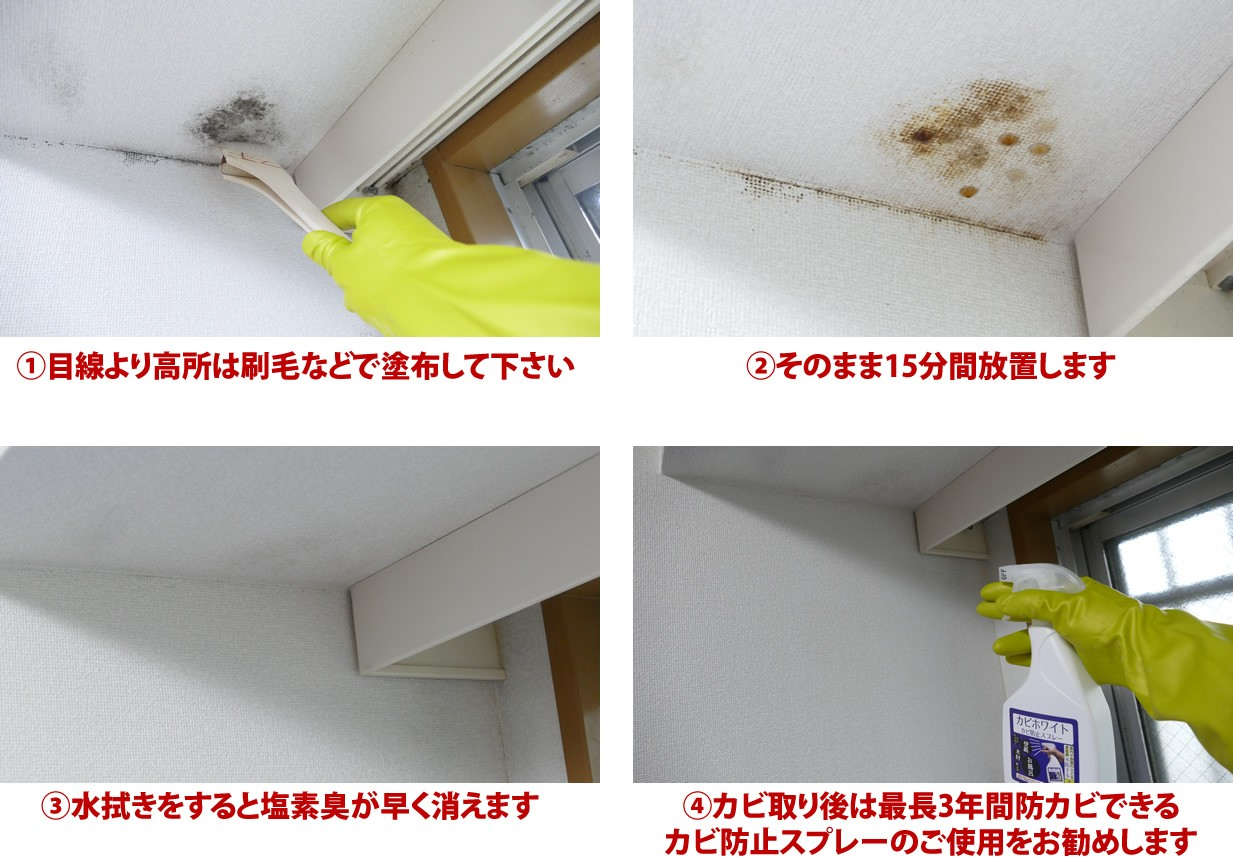 カビホワイト カビ強力除去スプレー 450ml 風呂 お部屋の壁紙 土壁