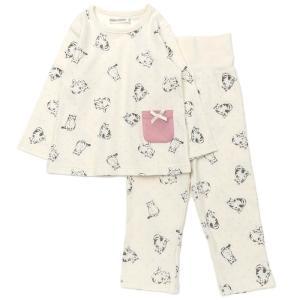 BABBLE BOON(バブルブーン)ネコ総柄パジャマ(長袖) (80〜130cm)  女の子 80 90 95 100 110 120 130 キムラタン 子供服 本体綿100%|ベビー・子供服のキムラタン