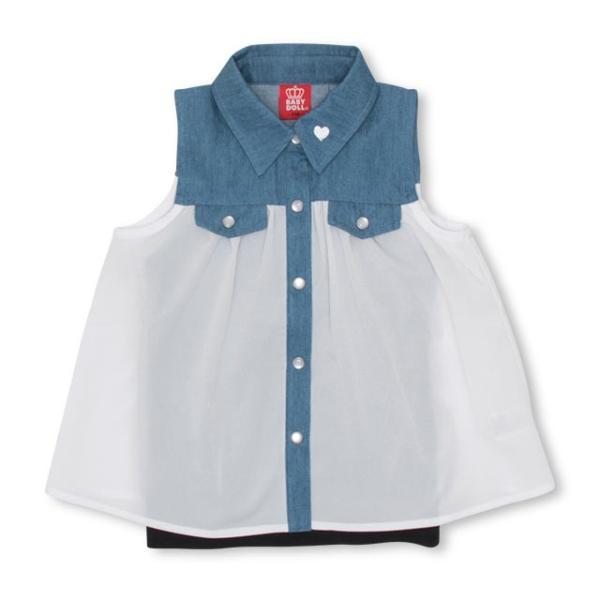 30%OFF SALE ベビードール BABYDOLL 子供服 キャミ付き デニム 切替 シャツ 2626K キッズ 女の子|babydoll-y|10