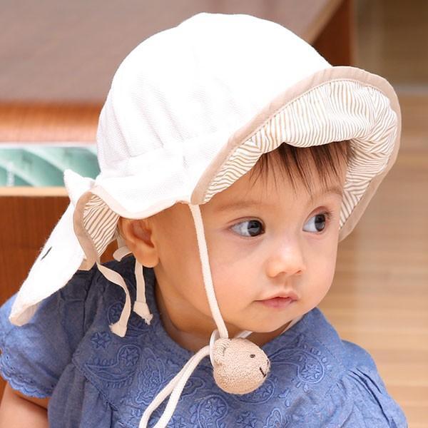 UVカット ベビー帽子 98%紫外線カット&クール!ママ安心♪「しろくまさん帽子」(ベビーグース)|babygoose|23