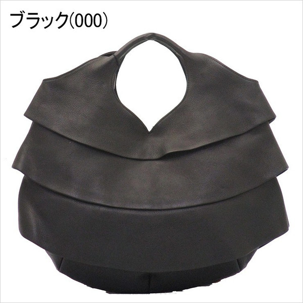 michiamo ミキアモ/  トートバッグ 本革 ソフトキップ フリル ハンド レディース 114086