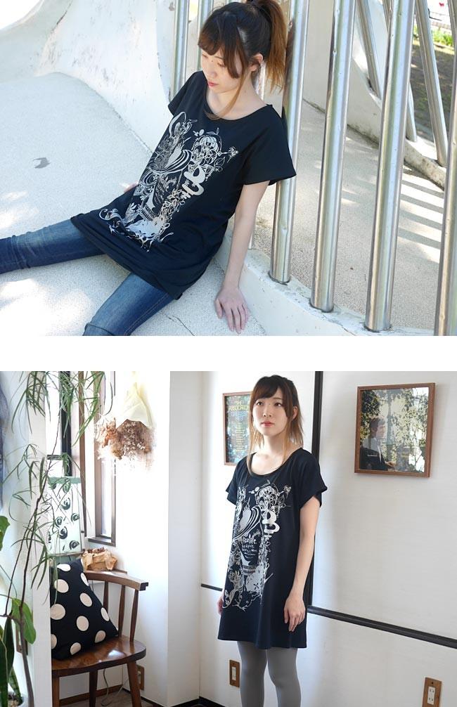 小悪魔ガール Tシャツワンピース ワンピTシャツ プリント 可愛い かわいい おしゃれ レディース ガールズ ブラック 黒 Mサイズ Uネック ゆったり Tシャツ屋さんバンビ