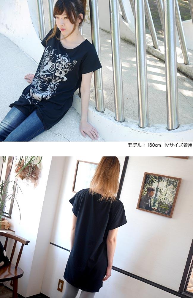 小悪魔ガール Tシャツワンピース ワンピTシャツ 半袖 ロゴT コアクマ コラボ イラスト アメカジ カジュアル ファッション オリジナルTシャツ プリント 可愛い かわいい