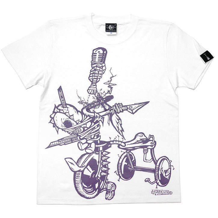 ベイスボールスカル Tシャツ (ホワイト)-G- 半袖 白色 野球 ベースボール スカル パンクロックTシャツ カジュアル バックプリント|bambi|05