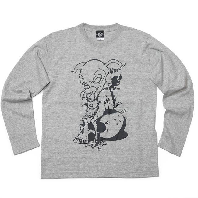 コアバンビ ロングスリーブ Tシャツ -G- 長袖 ロンT 子鹿 こじか スカル ドクロ パンクロックTシャツ|bambi|08