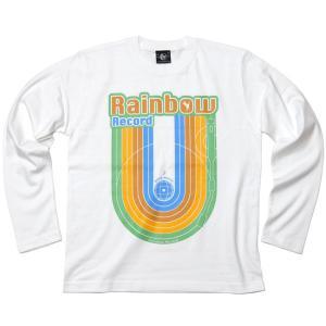 Rainbow Record (レインボーレコード) ロングスリーブTシャツ -G- 虹 ロゴ ロンT 長袖 カットソー カジュアル ホワイト|bambi|08