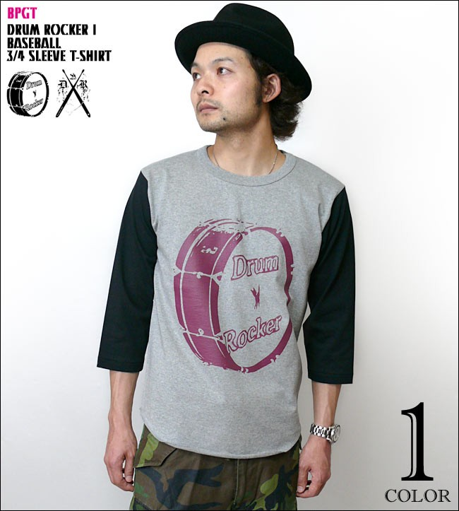 Drum Rocker 1 ドラムロッカー 3/4スリーブ ベースボールTシャツ バンビ グラフィックTシャツ ロックTシャツ ドラマー バンドTシャツ ヘビーウェイト オリジナルTシャツ 7分袖 メンズ レディース ユニセックス