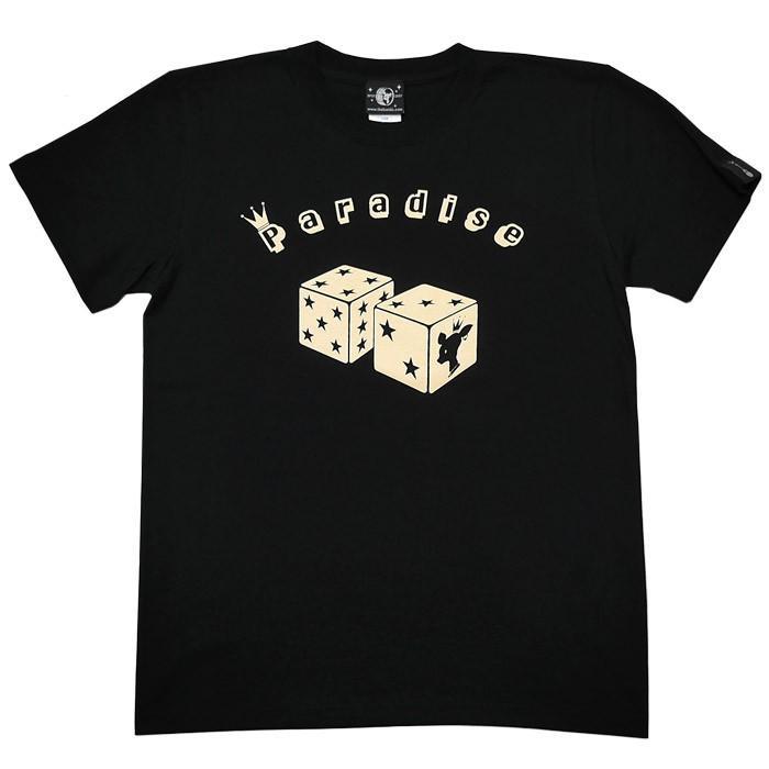 Paradise (パラダイス) Tシャツ (ブラック)-F- 半袖 黒色 サイコロ 賽子 かわいい 可愛い ロゴTee アメカジ カジュアル 大きいサイズ|bambi|10