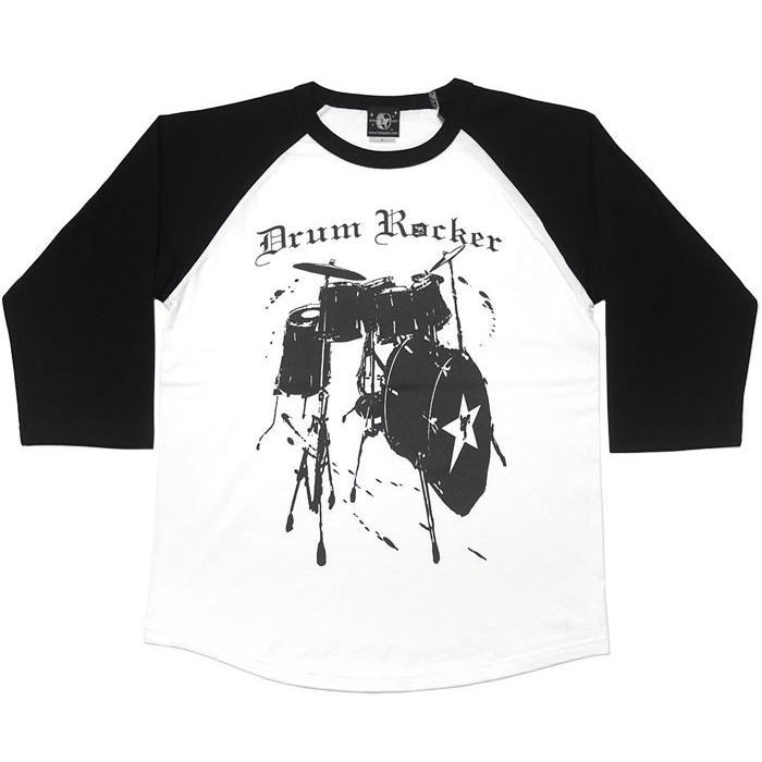 Drum Rocker2 ラグランスリーブTシャツ -G- 7分袖 七分袖 ドラム 楽器 バンド ライブ フェス ロックンロール|bambi|08