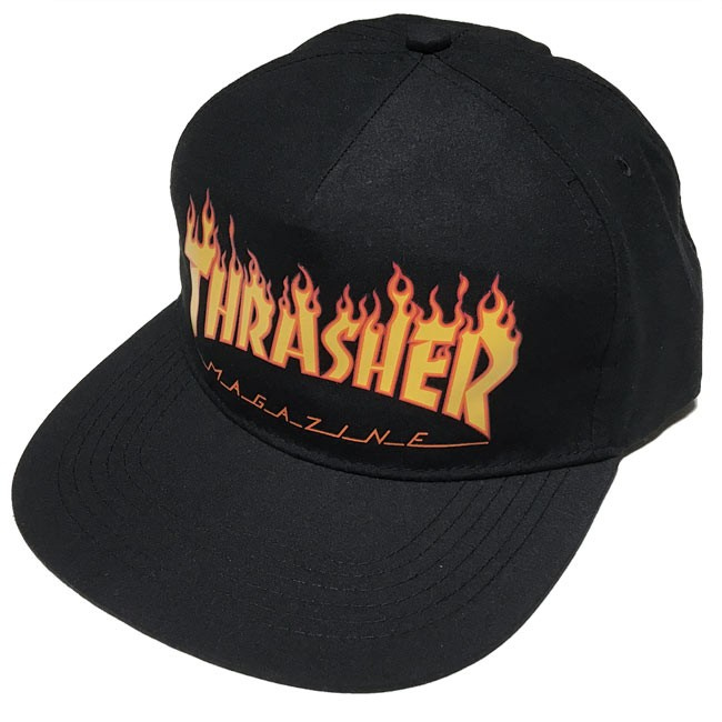 THRASHER FLAME スナップバックキャップ スラッシャー黒系 ブラック SNAPBACKCAP 帽子 フラットバイザー 炎ロゴマーク ファイヤー スケートブランド スケーター ストリート メンズ レディース 男女兼用 かっこいい セレクトショップ Tシャツ屋さんバンビ