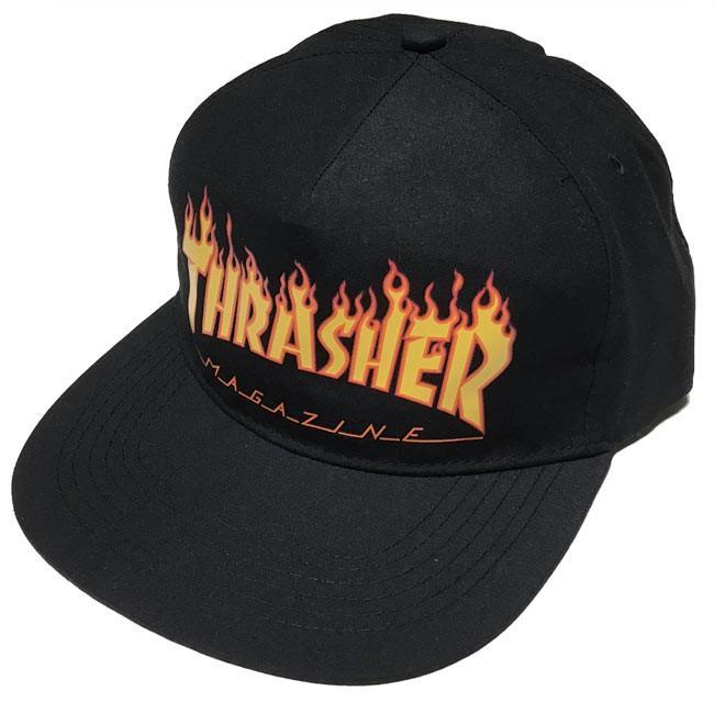 THRASHER FLAME スナップバックキャップ  - スラッシャー -G- 帽子 炎ロゴマーク ファイヤースケートブランド スケーター ブラック|bambi|04
