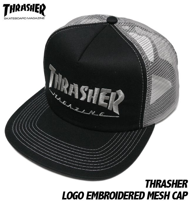 THRASHER エンブロイダード メッシュキャップ THRASHER スラッシャー EMBROIDERED MESH CAP 刺繍ロゴ スケーター エクストリーム パンクス 帽子 ユニセックス