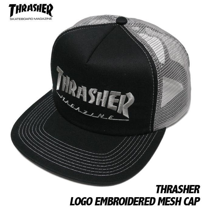 THRASHER エンブロイダード メッシュキャップ -G- スラッシャー 刺繍ロゴ スケーター パンクス 帽子 CAP ブラック×グレー|bambi|04