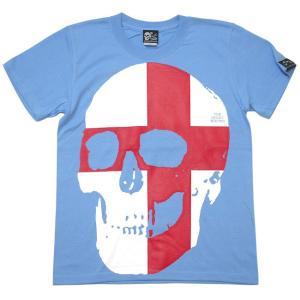 セント ジョージ クロス スカル Tシャツ (サックス) -G- 半袖 パンクロックTシャツ ドクロ イングランド 十字旗 水色 bambi 07