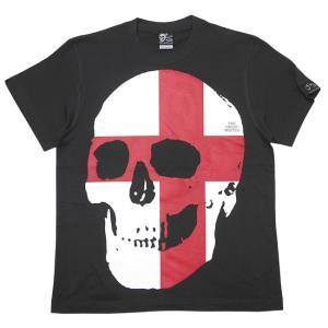 セント ジョージ クロス スカル Tシャツ (スミ) -G- 半袖 パンクロックTシャツ ドクロ イングランド 十字旗 灰色|bambi|08
