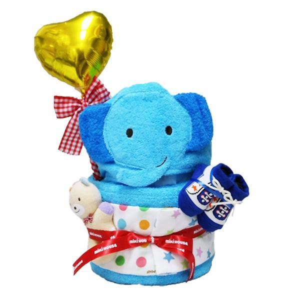 出産祝い 名入れ おむつケーキ ミキハウス 男女 フード付バスタオル2段 ギフト|bambinoeshop|10