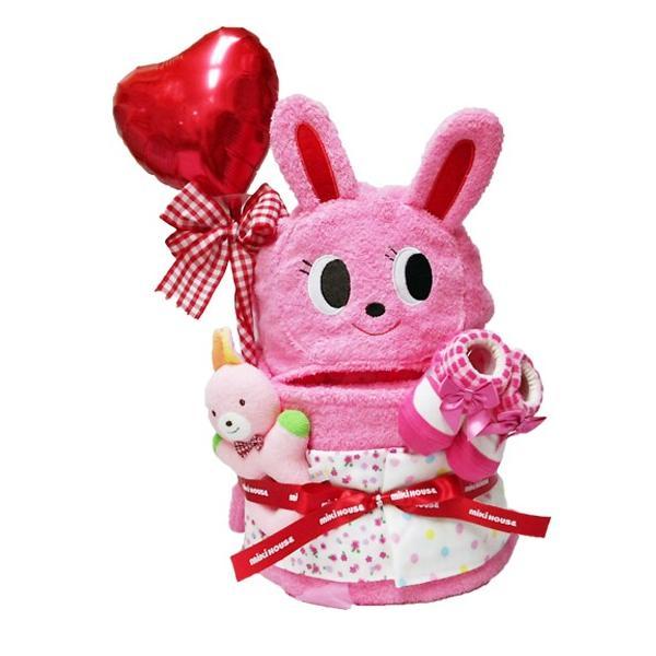 出産祝い 名入れ おむつケーキ ミキハウス 男女 フード付バスタオル2段 ギフト|bambinoeshop|09