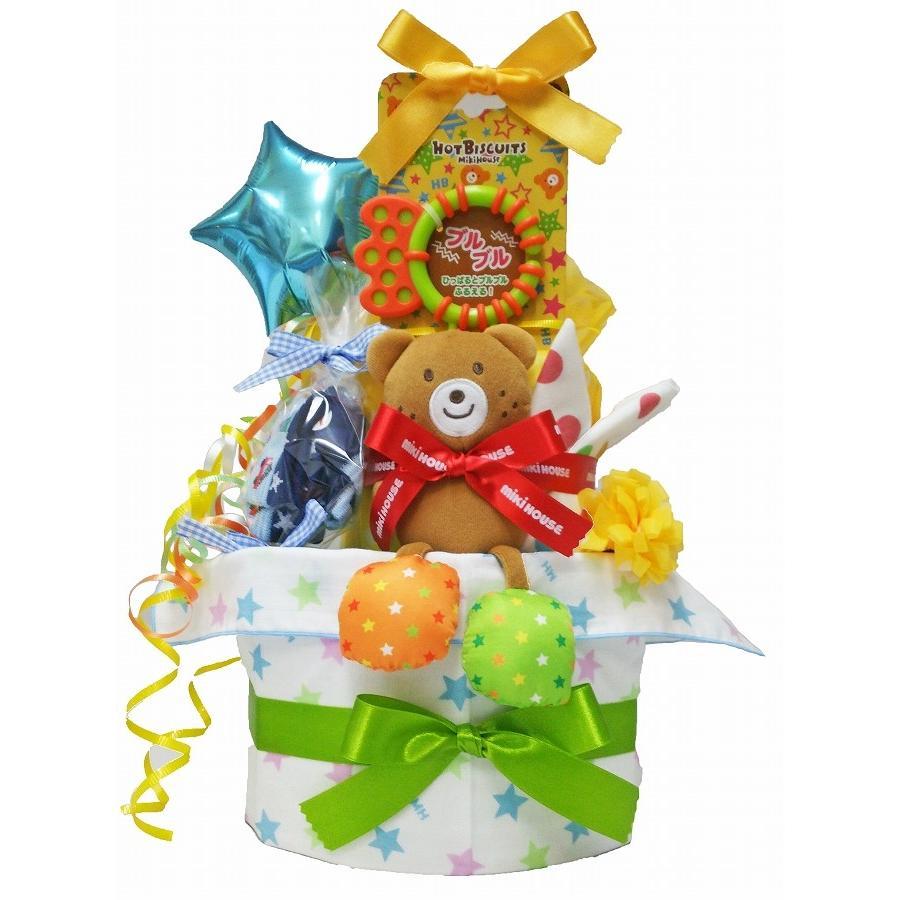 出産祝い ミキハウス ホットビスケッツ おむつケーキ 名入れ 男 女 ギフトセット バルーン おもちゃ オムツケーキ|bambinoeshop|12