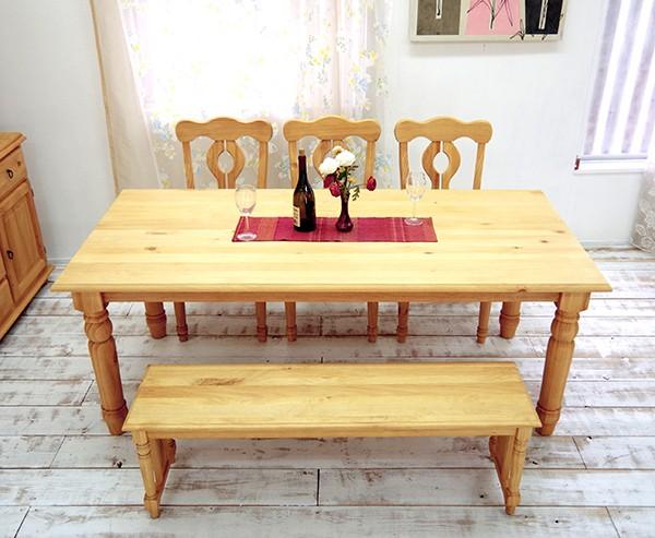 大家族用カントリーダイニングテーブル/190cm幅テーブルセット