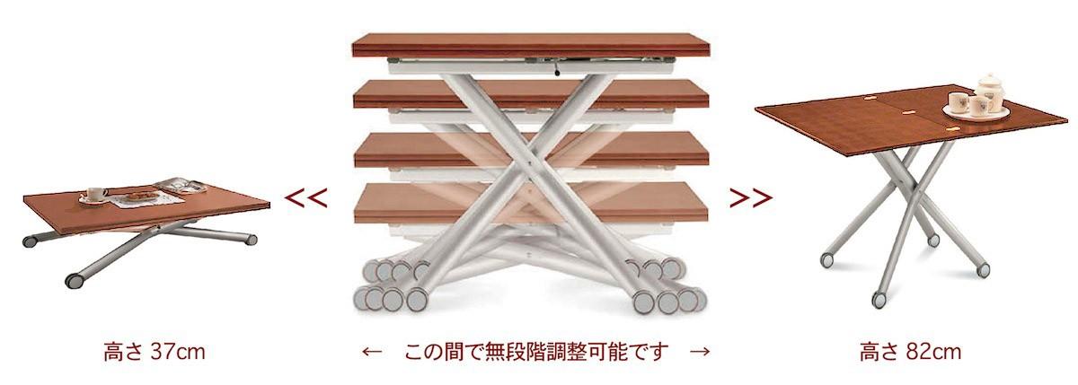 高さと大きさが調整できるリフティングテーブル