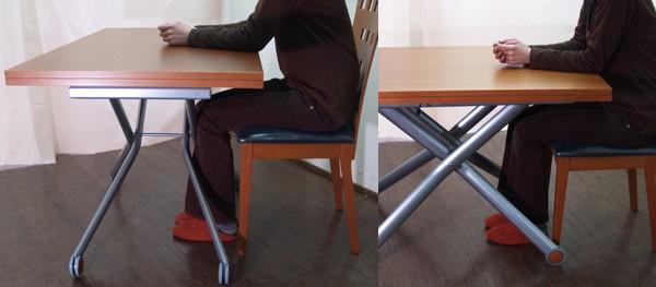 リフトアップテーブル-足・椅子が入るX脚