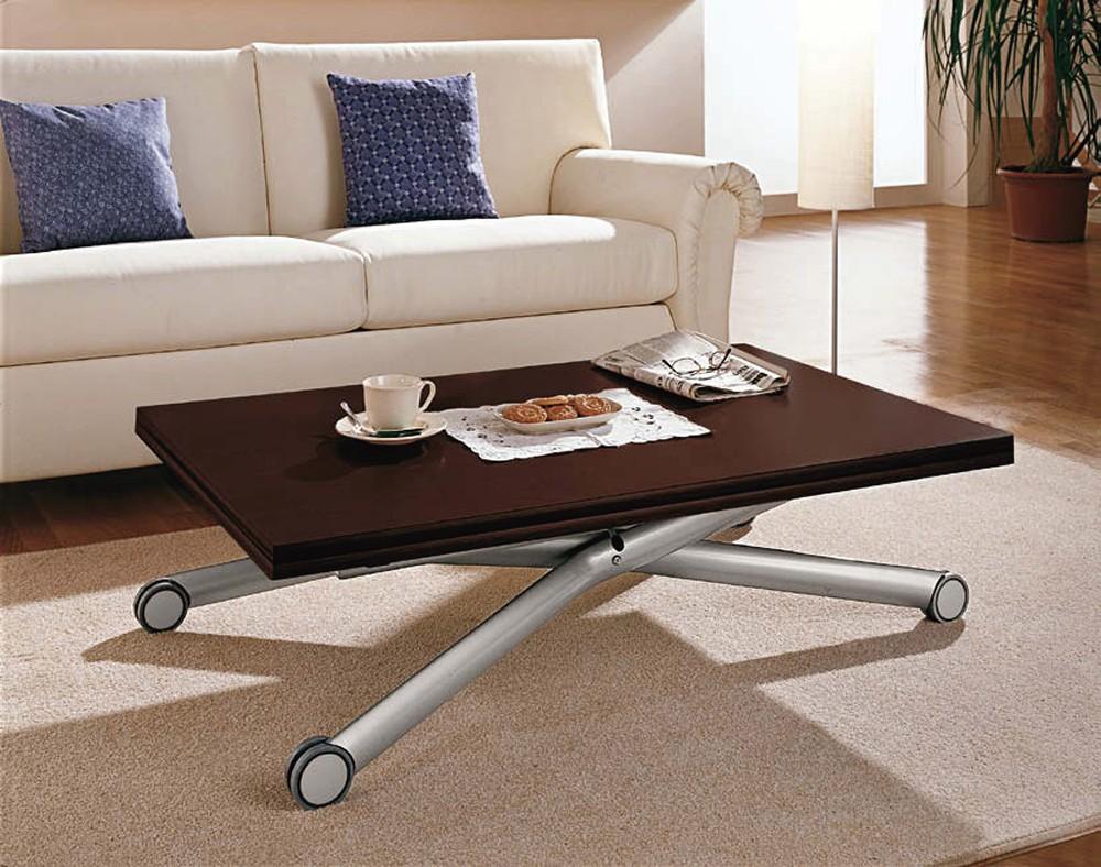 イタリア製天然木の天板がオシャレな昇降式テーブル